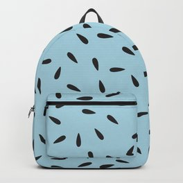 Watermelon Seeds on Pastel Blue Background Backpack