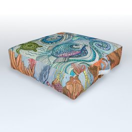 Ocean Zentangle Outdoor Floor Cushion