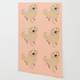 Golden Retriever Love Dog Illustrated Print Wallpaper
