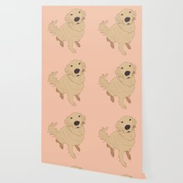 Golden Retriever Love Dog Illustrated Print Wallpaper