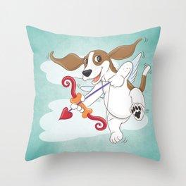 Basset Hound Cupid Valentine's Day Throw Pillow