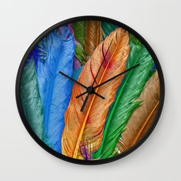 Feather of Colors Wall Clock