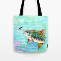 trout Tote Bags featuring Brook Trout by Linda Ginn Art ©