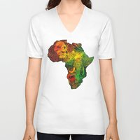 africa V-neck T-shirts featuring Africa by RicoMambo