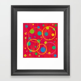 Red Abstract with Circles and Dots Framed Art Print