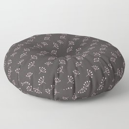 Dark Grey And Pink Queen Anne's Lace pattern Floor Pillow