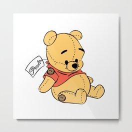Winnie The Pooh Plush Toy Metal Print