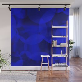 Abstract soap of ultramarine molecules and transparent bubbles on a deep blue background. Wall Mural