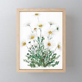 white Margaret daisy watercolor Framed Mini Art Print