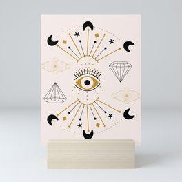 Vector eye and celestial elements in a geometric composition Mini Art Print
