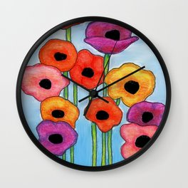 Colorful Poppies on Blue Wall Clock