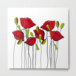 Whimsical Red Poppies Metal Print