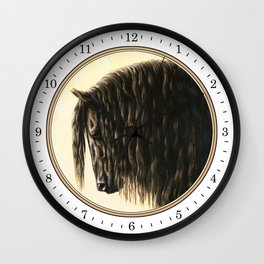 Black Friesian Draft Horse Wall Clock