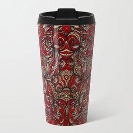 Red Indian Mandala on Wood Travel Mug