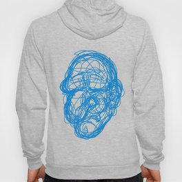 blue scribble face Hoody