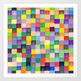 Pixelated Patchwork Art Print