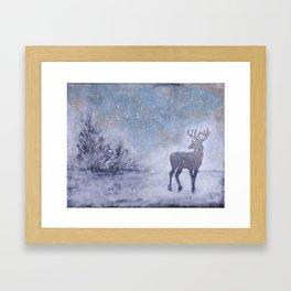 Winter Stag Framed Art Print