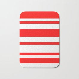 Mixed Horizontal Stripes - White and Red Bath Mat