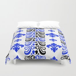 Fluer de Lis Custom Blue Duvet Cover
