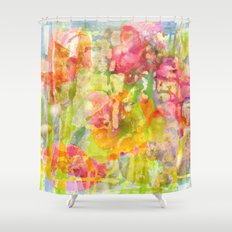 abstract and flowers Shower Curtain