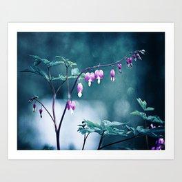 Bleeding Hearts Flower Photography, Navy Pink Purple Floral Nature Art Art Print