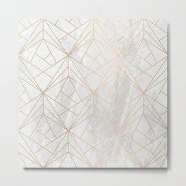 Gold Geometries on Marble Metal Print