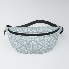 Scroll Damask Big Pattern Cream on Blue Fanny Pack