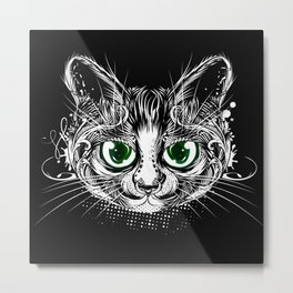 Cat portrait with green eyes Metal Print
