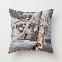 Frozen Avalon Falls Throw Pillow
