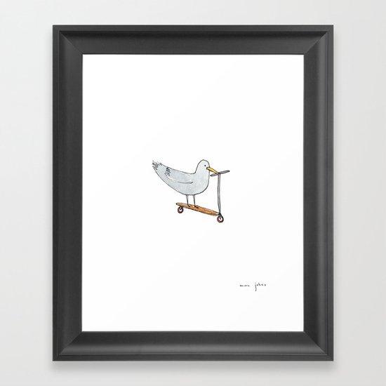 bird on a scooter Framed Art Print