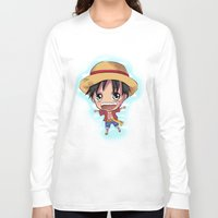 luffy Long Sleeve T-shirts featuring Luffy by Midnight Tardis