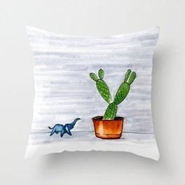 The Cactus & The Happy Elephant Throw Pillow