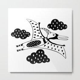 pterodactyl black and white Metal Print