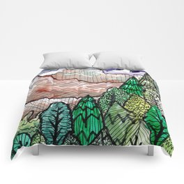 landscape forest montain pines Comforters