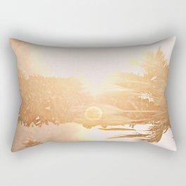 California Fine Art Print Yellow, Peach, Cream La Quinta Palm Tree Photograph - Desert Sunset  Rectangular Pillow