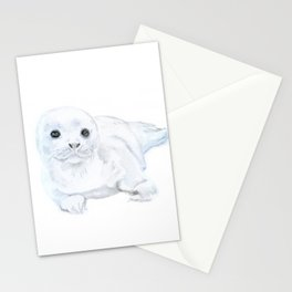 Baby Harp Seal Watercolor Stationery Cards