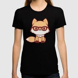Kawaii Fox. Cute Little Fox Character in Glasses. T-shirt