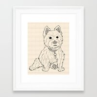 westie Framed Art Prints featuring Westie Sketch by Circus Dog Industries