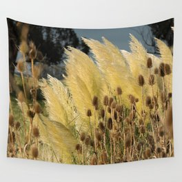 Tails of fox and thistles in the pampas. Wall Tapestry