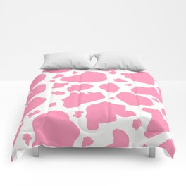 pink and white animal print cow spots Comforters