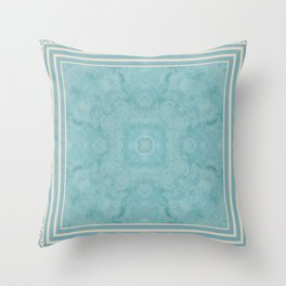 Turquoise Square Pattern Stone Throw Pillow