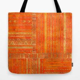 Tribal Ethnic pattern gold on bright orange Tote Bag