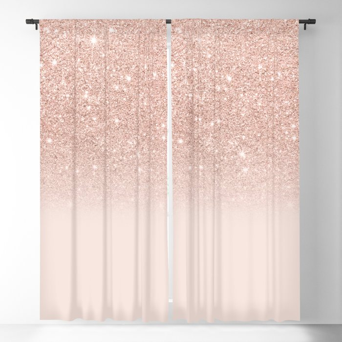 Rose Gold Faux Glitter Pink Ombre Color Block Blackout