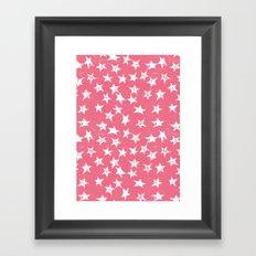 Linocut Stars- Blush & White Framed Art Print
