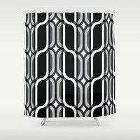 bauhaus Shower Curtains featuring Bauhaus Type Black and White Art by Addison Barker