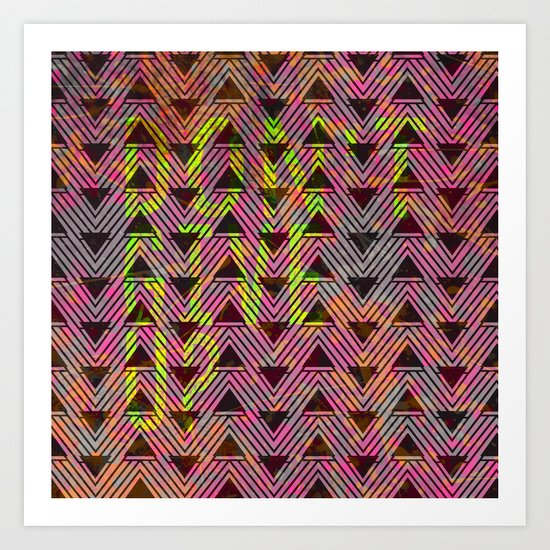 Don't Give Up Quote with Geometric Triangle Pattern Art Print