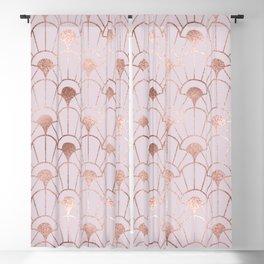 Art deco illustration pattern with rose gold decorative flowers shapes. Abstract geometric crisscross. Golden pink luxury illustration. Vintage Art nouveau. Blackout Curtain