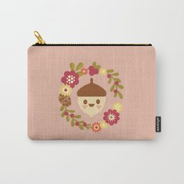 Acorn and Flowers / Blush Pink Carry-All Pouch