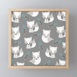 ARCTIC FOXES ON GREY Framed Mini Art Print