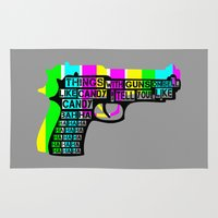 guns Area & Throw Rugs featuring Guns and Candy by mailboxdisco